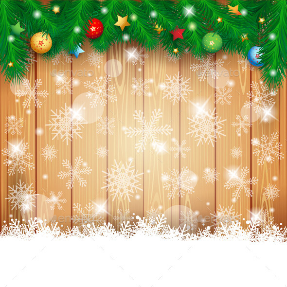 GraphicRiver Christmas Background with Wood and Fir 9475039