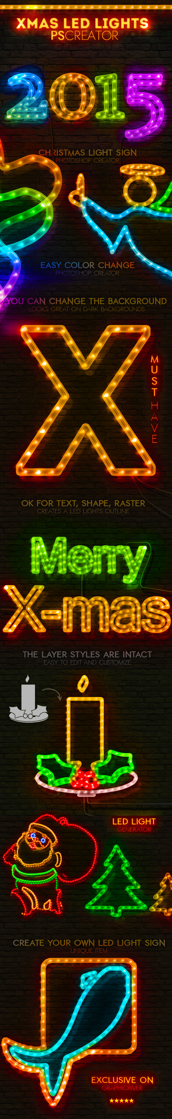 GraphicRiver Christmas LED Light Rope Photoshop Action 9475071