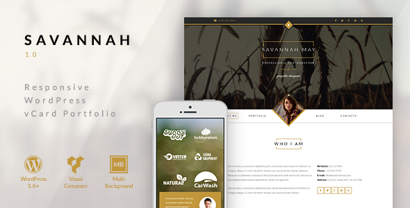 ThemeForest Savannah Responsive WordPress vCard Portfolio 9475148