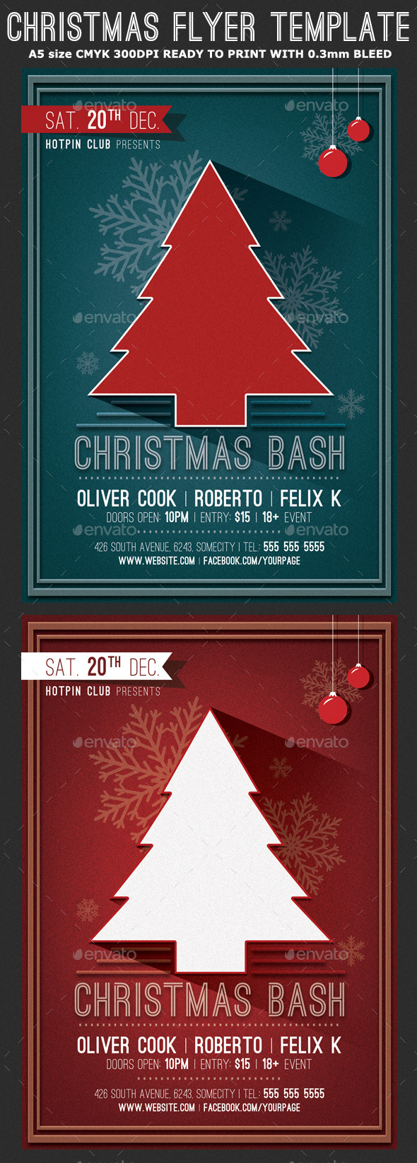 Minimal Christmas Party Flyer Template