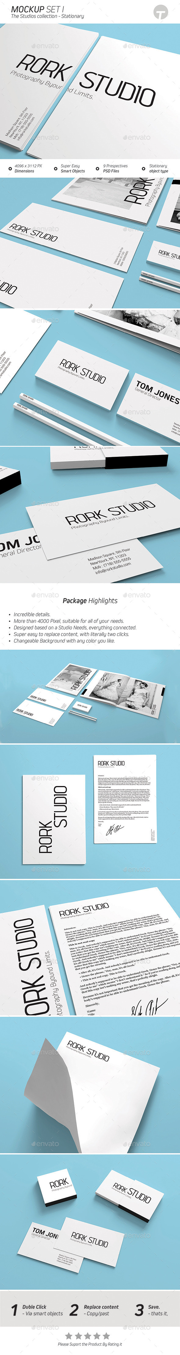 GraphicRiver Stationary Mockup Studios Collection Set 1 9475182