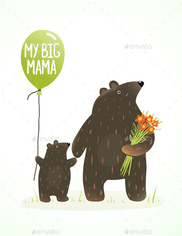 GraphicRiver Mother Bear and Her Baby Animal Cartoon 9475311