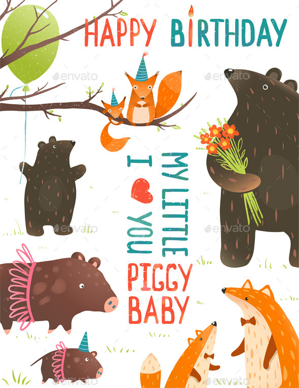 GraphicRiver Birthday Card with Forest Animals Mother and Baby 9475322