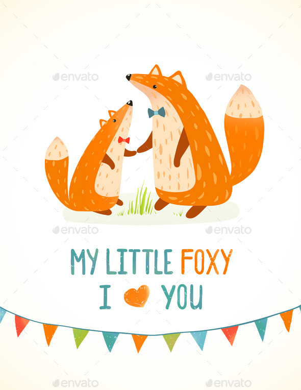 GraphicRiver Mother or Father Fox and Foxy Child Illustration 9475327