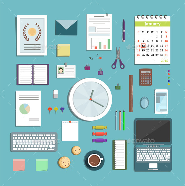 GraphicRiver Office Supplies Collection Flat Style Illustration 9475334