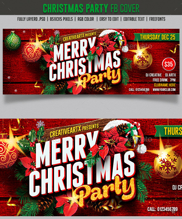 GraphicRiver Christmas Party FB cover 9475342