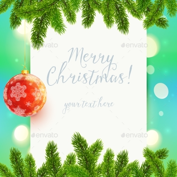 GraphicRiver White paper Background with Fir Tree Branches 9475397
