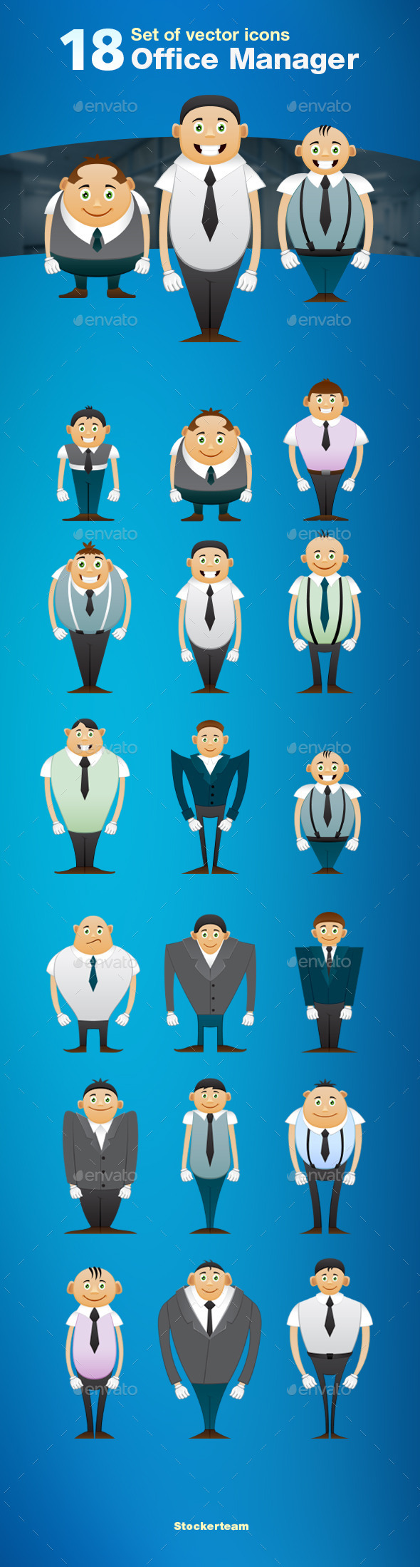 GraphicRiver Set of 18 Office Manager Icons 9475433