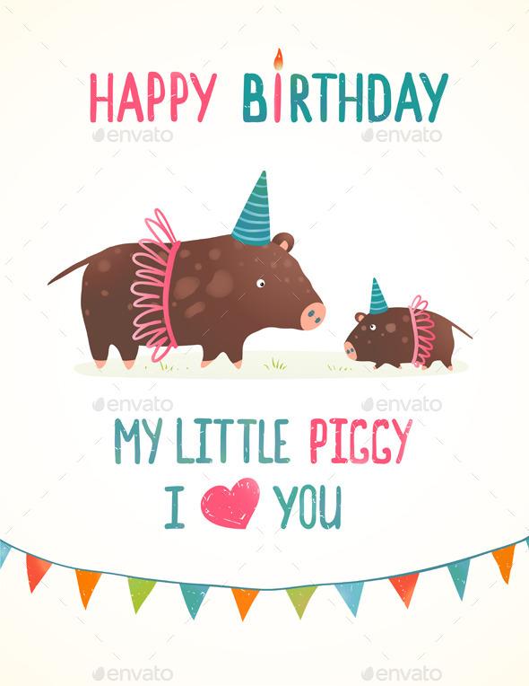 GraphicRiver Little Piggy and Mother Birthday Greeting Card 9475441