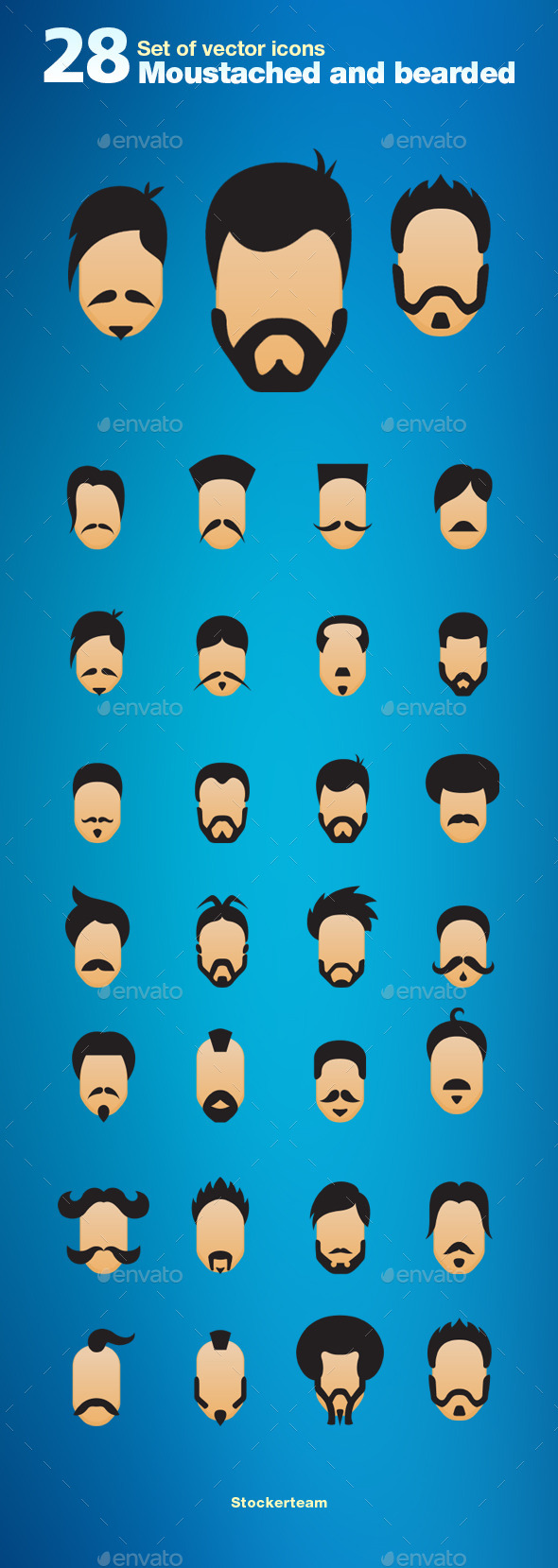 GraphicRiver Set of 28 Moustache and Bearded Icons 9475448