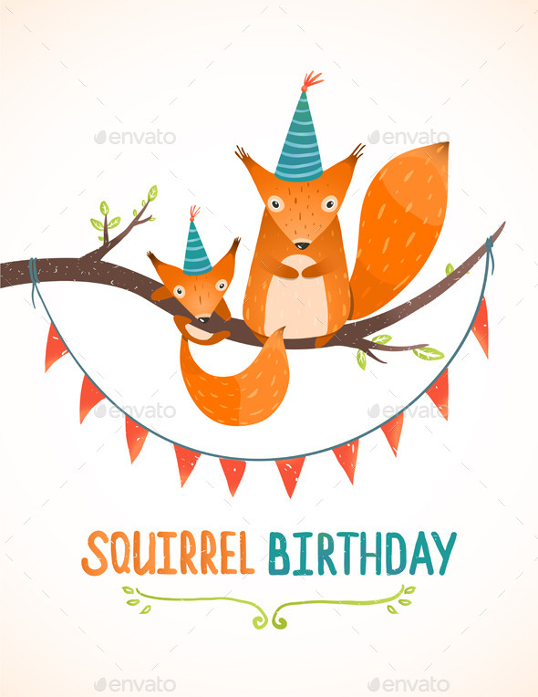 GraphicRiver Little Squirrel and Mother Birthday Greeting Card 9475457