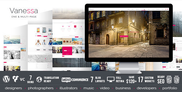 Vanessa - Responsive Multi-Purpose Wordpress Theme - Corporate WordPress