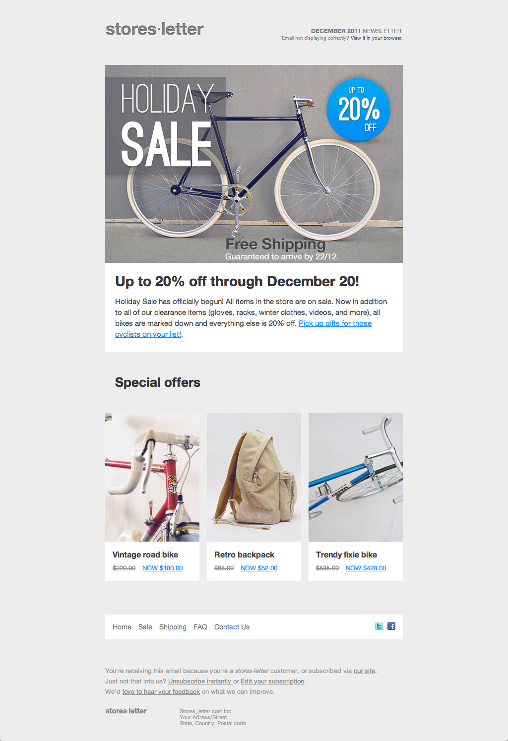 Storesletter HTML email-marketing template to sell