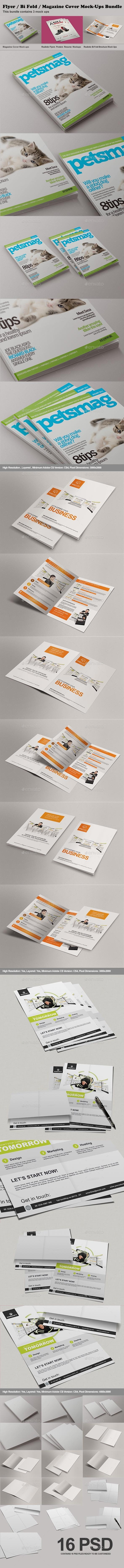 GraphicRiver Flyer Bi Fold Magazine Cover Mock-Ups Bundle 9475667