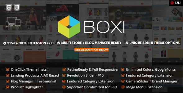 "Boxi is fully Compatible with Magento 1.9.0.1 ""Boxi Responsive Magento Theme"" – is a premium responsive & reti"