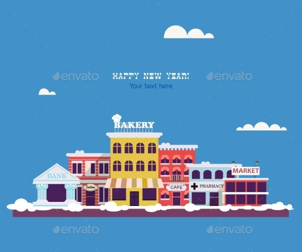 GraphicRiver Set Buildings of Small Business Flat Design 9476060