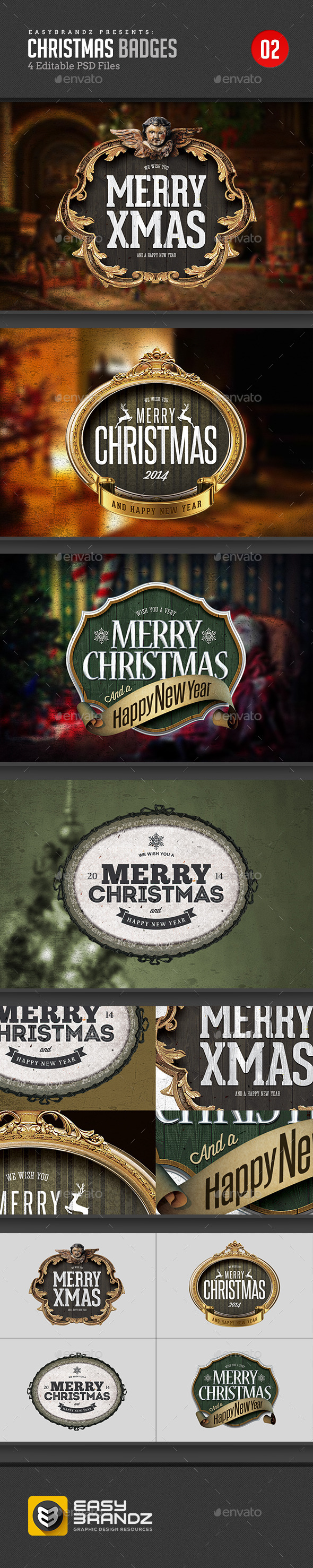 GraphicRiver 4 PSD Christmas Badges 9476076