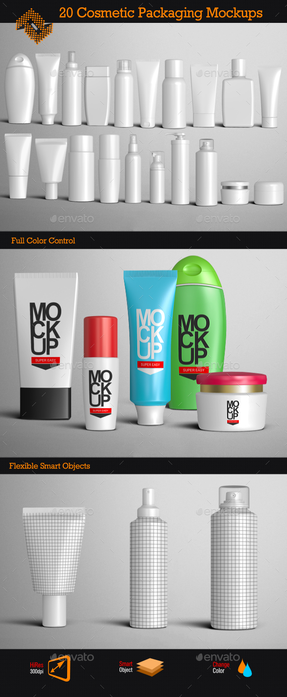 GraphicRiver 20 Cosmetic Packaging Mockups 9476454