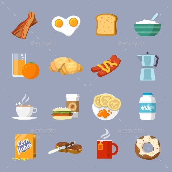 GraphicRiver Breakfast Icons 9476785