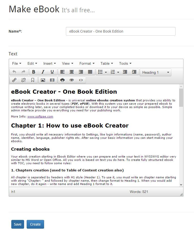 eBook Creator – Online eBook creation system