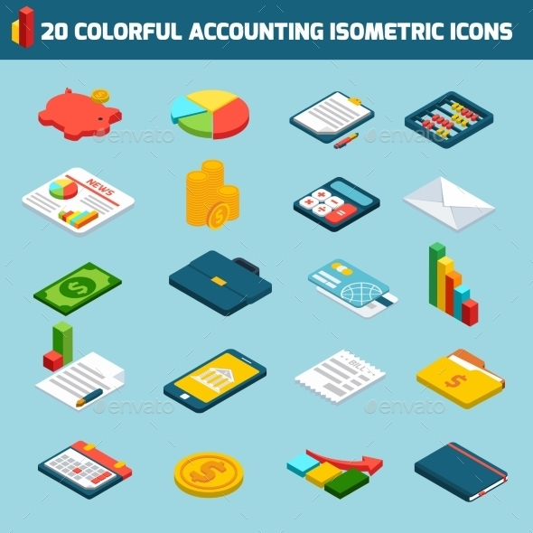 GraphicRiver Accounting Icons Isometric Set 9476956