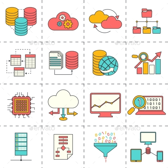 GraphicRiver Data Analysis Flat Line Icons 9476970