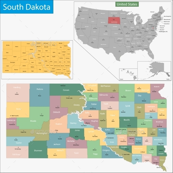 GraphicRiver South Dakota Map 9477213