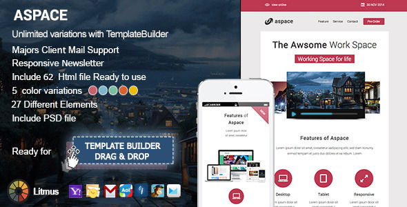 ThemeForest Aspace Responsive Email & Template Builder 9477454