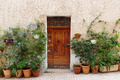 Entrance to the old French house and potted flowers - PhotoDune Item for Sale