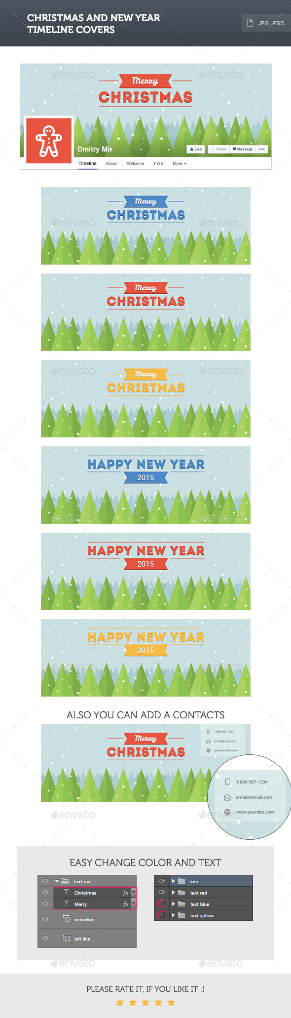 GraphicRiver Christmas Timeline Covers 9479087