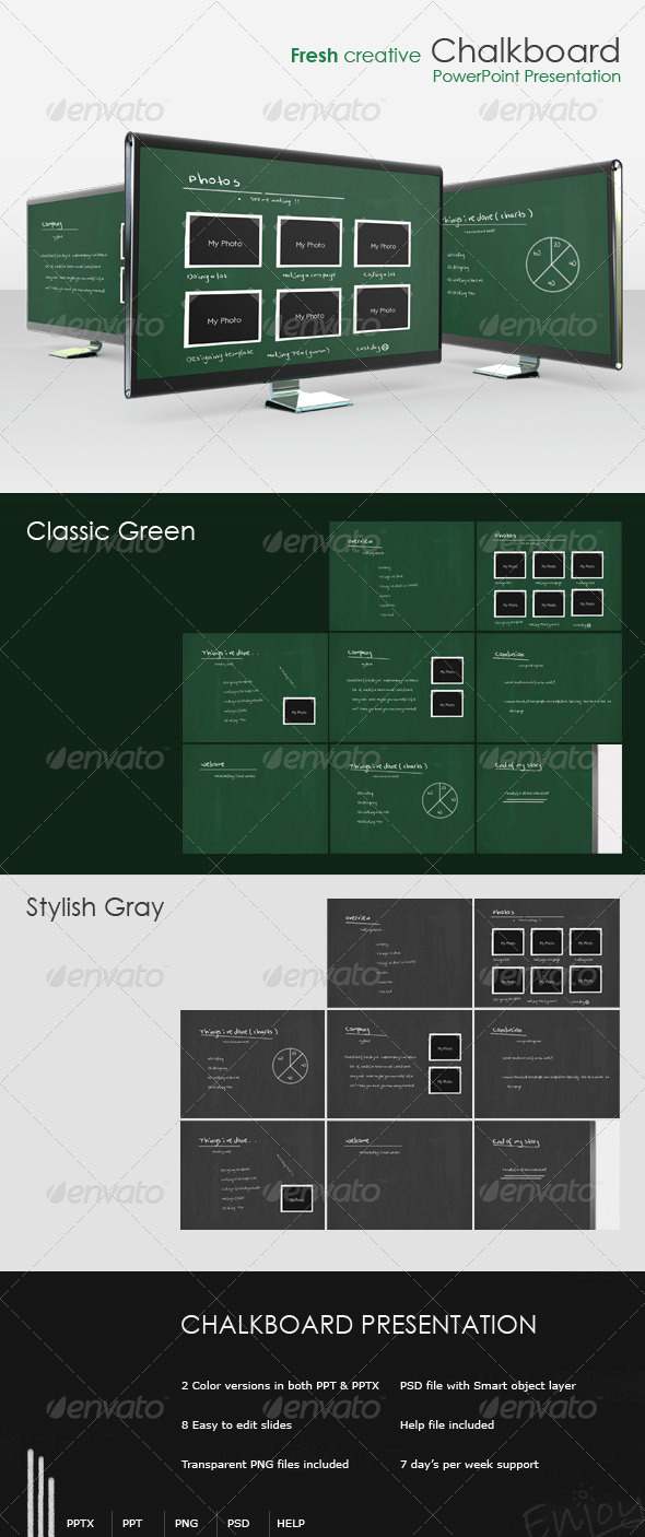 "Fresh creative ""Chalkboard"" presentation - Powerpoint Templates Presentation Templates"