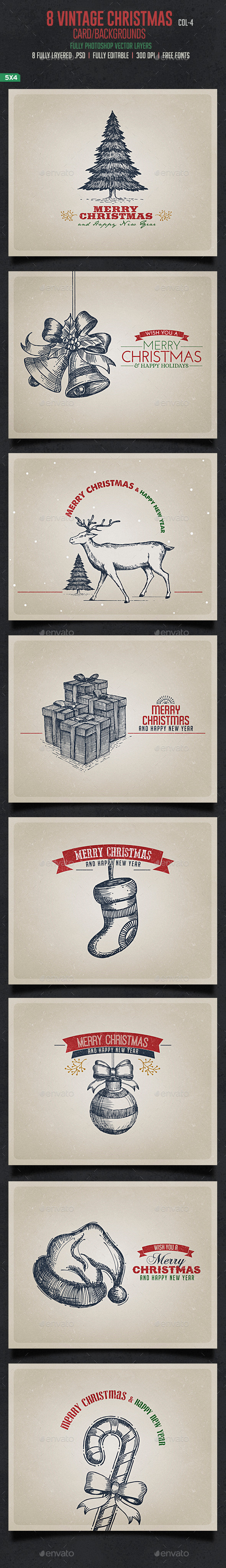 GraphicRiver Vintage Christmas Cards Backgrouds 9479219