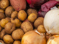 Fresh Potatoes and Onions at a Farmers Market - PhotoDune Item for Sale