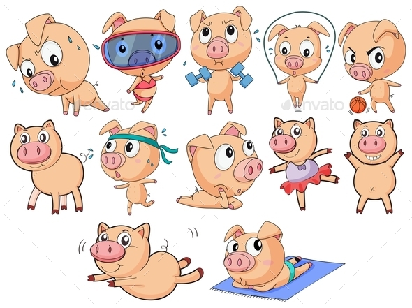 GraphicRiver Group of Pigs 9479467