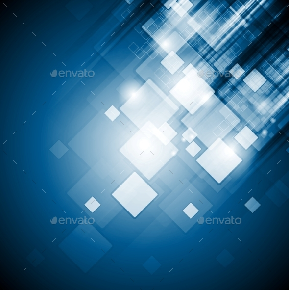 GraphicRiver Bright Blue Tech Squares Background 9480918