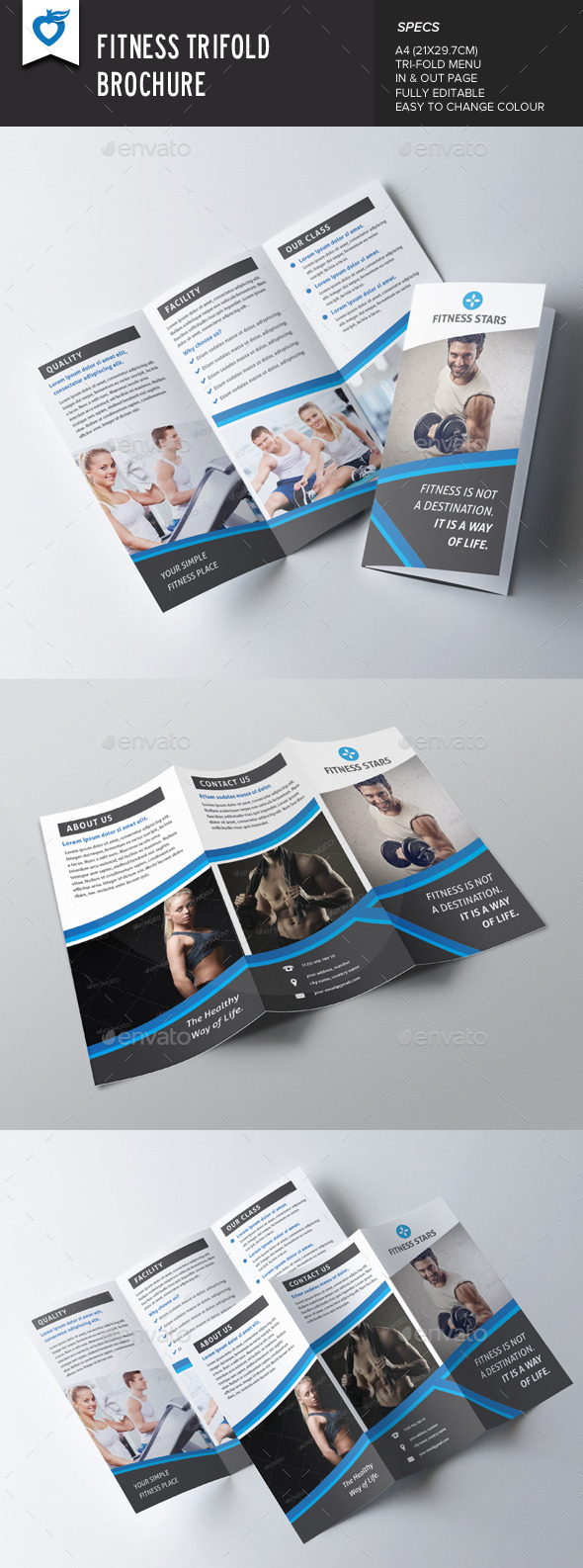 GraphicRiver Fitness Trifold Brochure 9480927