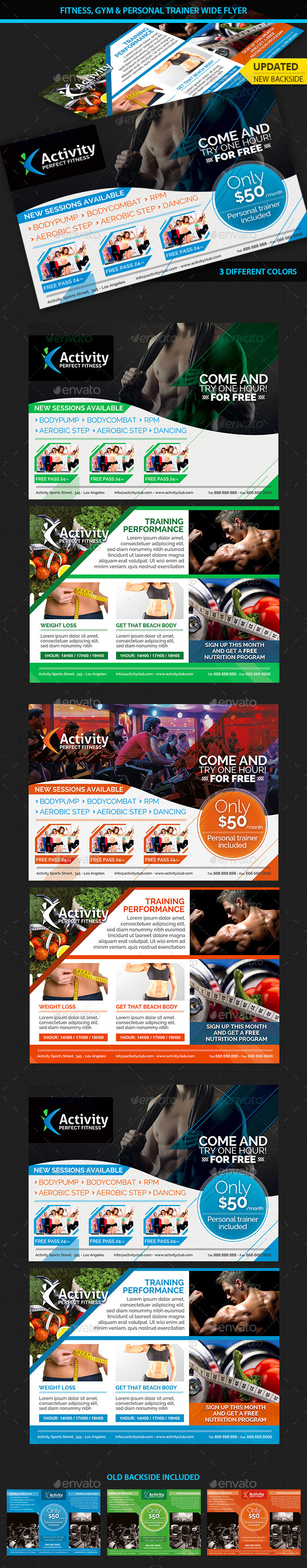 Fitness, Gym & Personal Trainer Wide Flyer