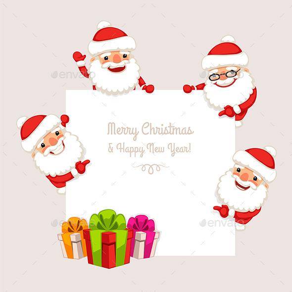 GraphicRiver Set of Cartoon Santa Clauses 9456082