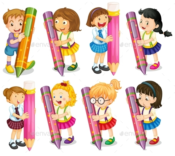GraphicRiver Kids with Pencils 9482054