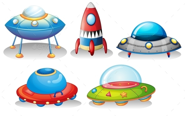 GraphicRiver Flying Saucers and a Rocket 9482055
