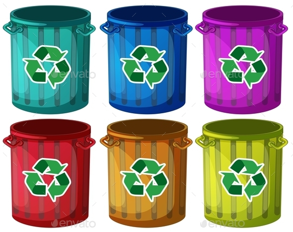 GraphicRiver Trashbins with Recycle Signs 9482066