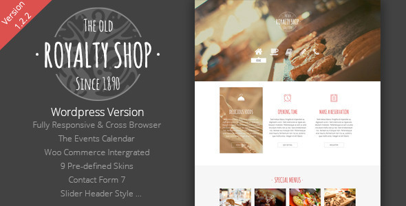 Royalty Shop Restaurant Wordpress Theme