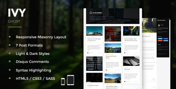 ThemeForest Ivy Responsive Masonry Ghost Theme 9482468