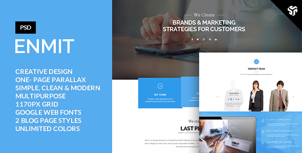 ThemeForest ENMIT One Page MultiPurpose Parallax 9315790