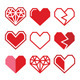 Geometric Red Heart for Valentine's Day Icons  - GraphicRiver Item for Sale
