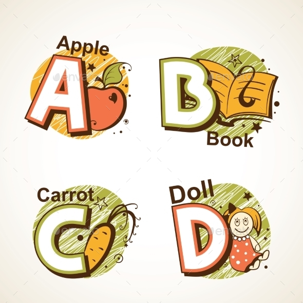 GraphicRiver Alphabet Set from A to D 9484447