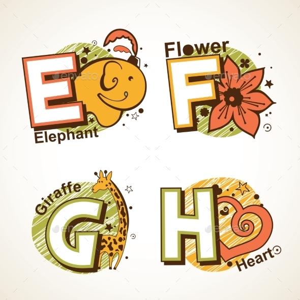 GraphicRiver Alphabet Set from E to H 9484455