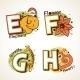 Alphabet Set from E to H - GraphicRiver Item for Sale