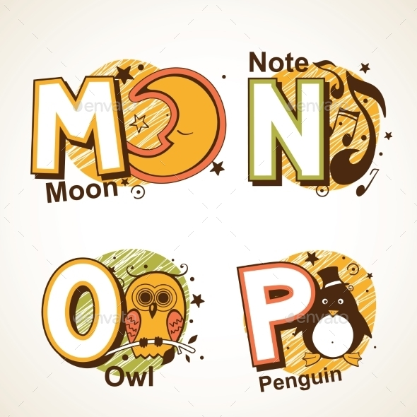 GraphicRiver Alphabet Set from M to P 9484484