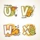 Alphabet Set from U to X